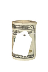 Roll of money with blank price tag
