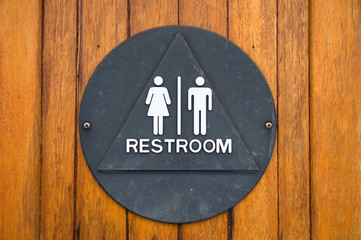Brass restroom sign
