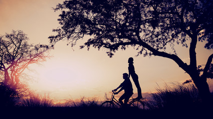 Image of love and valentine's Day with couple,silhouette concept