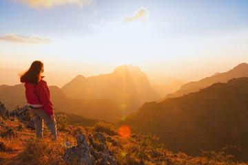 Traveller trekking on Doi Luang Chiang Dao Mountain. Chiang mai,