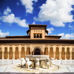 Wall Mural - Famous Lion Fountain - Alhambra Palace, Granada (Andalusia), Spa