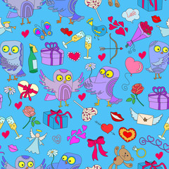 Seamless background with owls in love Valentine's day. Seamless pattern with hand drawn owls and icons on the theme of Valentine's day on a blue substrate