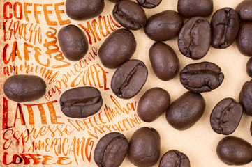Top view of roasted coffee beans with Typography. use for backgr