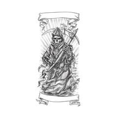 Grim Reaper Scythe Ribbon Tattoo