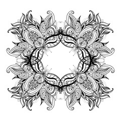 Floral paisley ornament. Ethnic decorative elements. Hand drawn background.
