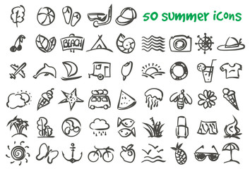 vector doodle summer icons set