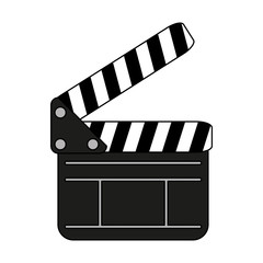 clapboard icon over white background. vector illustration