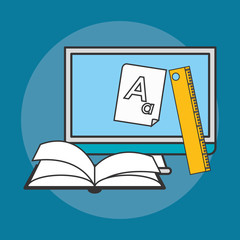computer with books and ruler tool  over blue background. colorful design. vector illustration