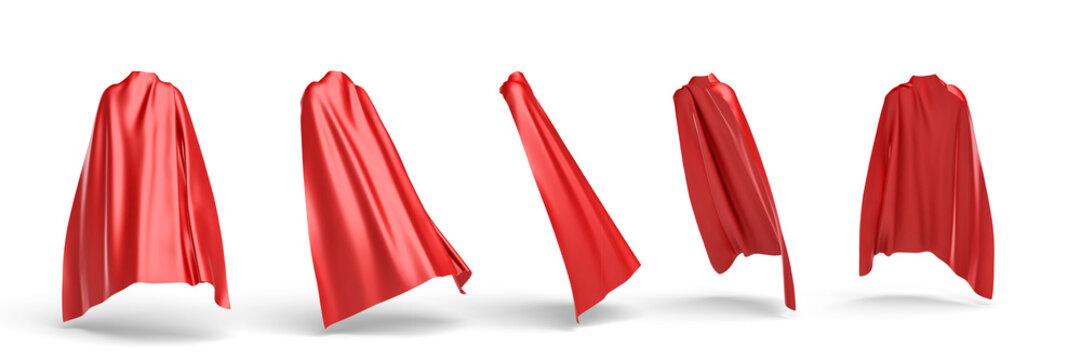 3d rendering of a red cape draped over invisible silhouette in five different points of view.