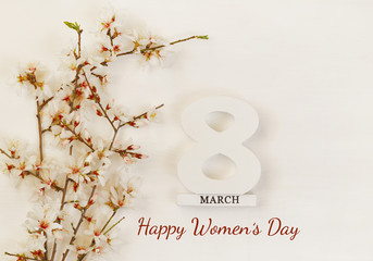 International women day concept. Cherry tree and date