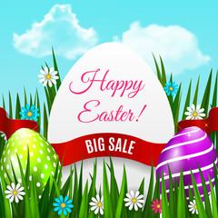 Easter poster. Easter background for advertising, sale or greeting card. Vector illustration