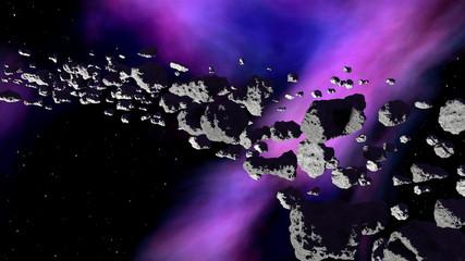 Nebula with asteroids belt