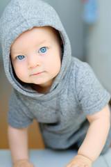 Baby boy with blue eyes