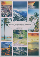 Fototapete - Collage of summer beach images - nature and travel background. I