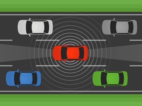 Autonomous self driving car, vehicle or automobile with lidar and radar flat vector illustration