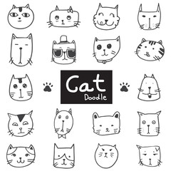 Vector set of drawing cute cat in doodle black line on white background