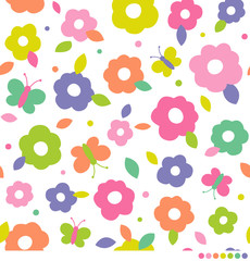 Colorful cute flower and butterfly vector pattern background