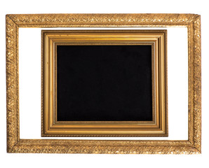 Two empty vintage gold frame in baroque style, isolated on white background