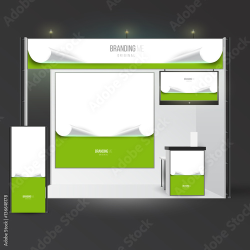 Exhibition Booth Mockup Free Download : Template with branding exhibition mockup for advertising