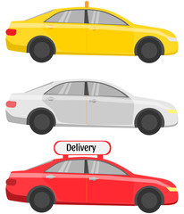Simple, taxi and delivery cars
