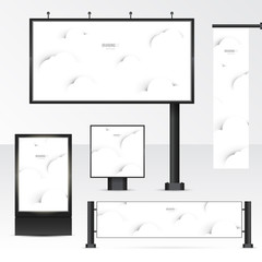 Set objects of outdoor advertising. Template for branding on white background. Mockup billboard, city light, horizontal and vertical banners. Vector illustration with.