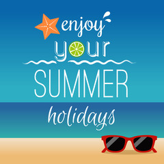Summer typography and icons with beach background. Summer holidays concept illustration vector.