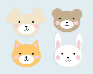 Face of cute animals, vector image