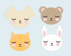 Face of cute animals with eyes closed, vector image