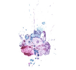 Colorful abstract watercolor texture with splashes and spatters. Modern creative watercolor background for trendy design with grunge effect