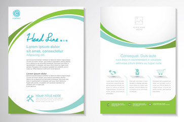 Vector Brochure Flyer design Layout template, size A4, Curve design, green color front page and back page, infographics.Easy to use and edit. Wall mural