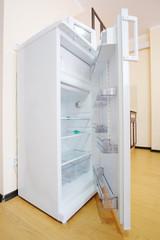Open refrigerator close up