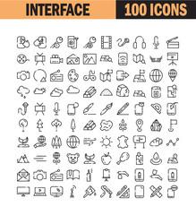 Universal thin line icon set