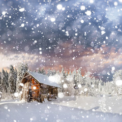 fantastic winter landscape. background with some soft highlights
