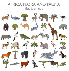 Flat Africa flora and fauna map constructor elements. Animals, b
