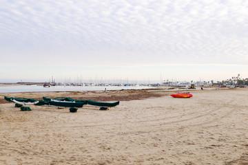 Marina during sunrise over Santa Barbara beach, California.