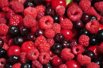 Summer fruit vitamin assorted raspberries, cherries, currants