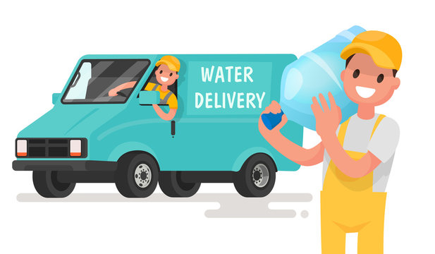 Company for the delivery of drinking clean water. A man with a b