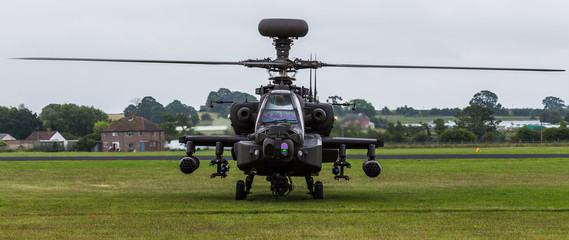 Letterbox crop of the Apache moments before takeoff