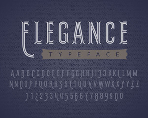 Linear letters and numbers. Decorative typeface