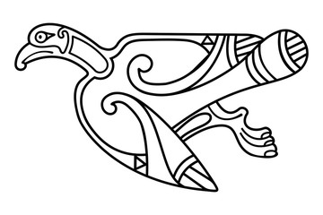 Celtic zoomorphic national figure. Isolated ornament with bird.