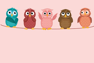 Five cute colored owlet sitting on a rope. A red hearts with a picture hanging on a rope.  Valentine's Day. Vector illustration. Greeting card with empty space for the label or advertising.