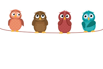 Four cute colored owlet sitting on a rope. A red hearts with a picture hanging on a rope.  Valentine's Day. Vector illustration. Greeting card with empty space for the label or advertising.