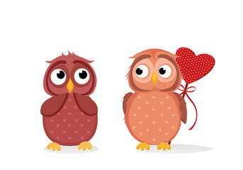 Owlet Cute boy wants to give heart to the Valentine's Day gift to girl owl. She is embarrassed and waiting.