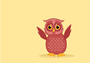 owlet pink flaps its wings. Greeting card for the holiday. Empty space for text or advertising vaashego. Vector illustration
