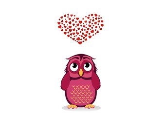 Cute owlet dreams of love. Owl looks at the heart top. Greeting card for Valentine's Day.