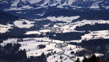 View of the Allgaeu Alps (Allgäu Alps) covered in snow, as seen from Sulzberg, Vorarlberg, Austria