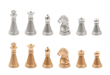 Full set of chess figures isolated