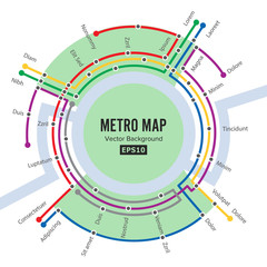 Metro Map Vector. Template Of City Transportation Scheme For Underground Road. Colorful Background With Stations