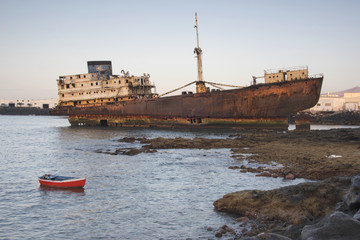 Shipwreck of the Temple Hall off the coast of Arrecife Lanzarote