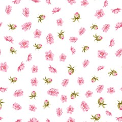Elegant flowers fabric with seampless pattern. Spring flowers pattern over white background. Vector illustration.